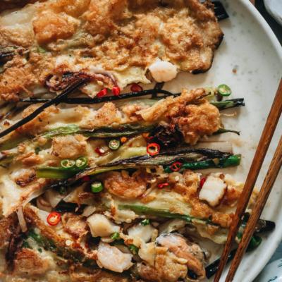 Korean seafood pancake close-up