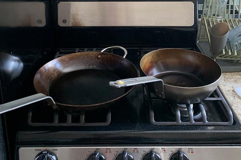 "Debuyer 12.5"" fry pan and 9"" fry pan"