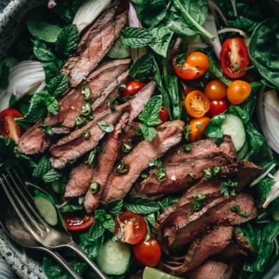 Thai beef salad close-up