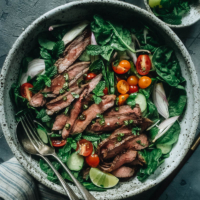 For a cool and refreshing summer dinner, Thai beef salad gives you robust flavors and a mixture of tender beef and fresh produce for an all-in-one meal. {Gluten-Free}