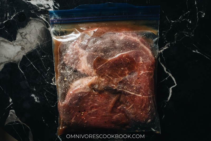 Marinating beef