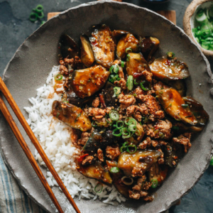 Sichuan braised eggplant over rice