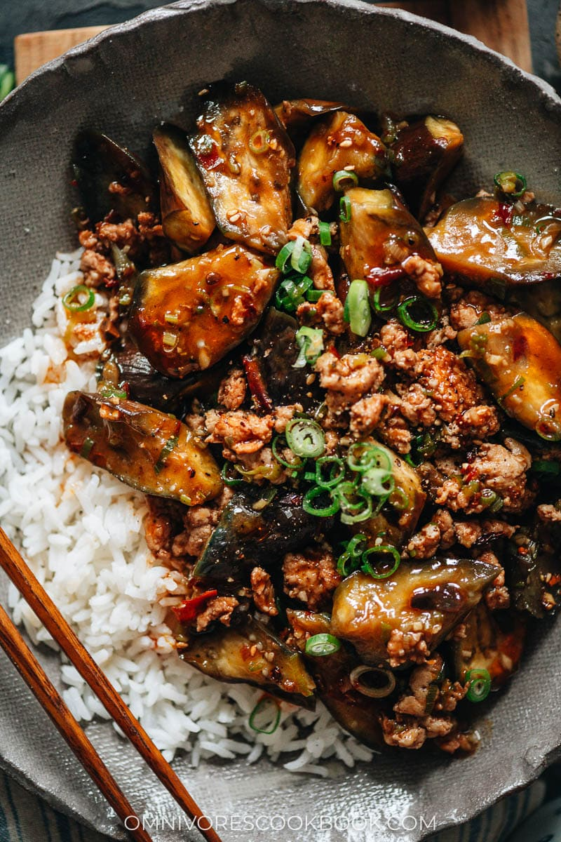 Chinese eggplant over rice close up