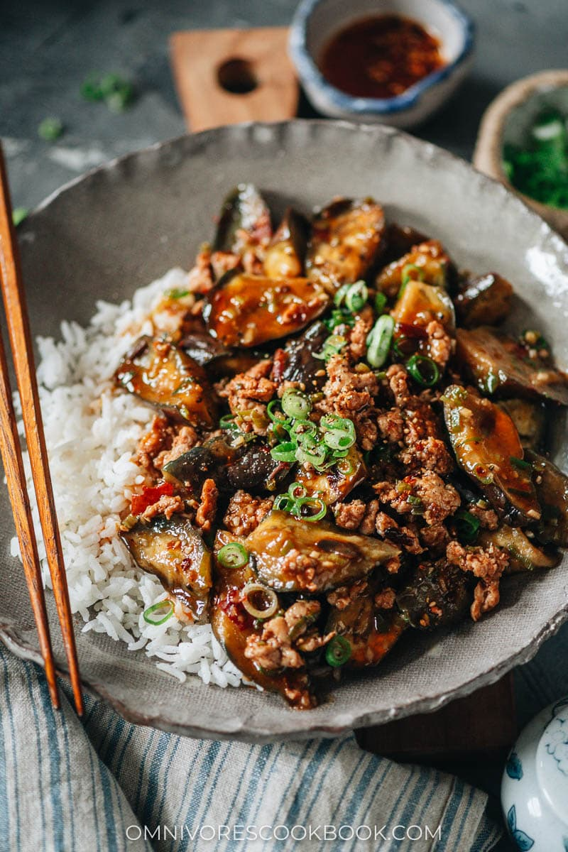 Chinese eggplant and ground meat over rice