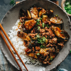 Full of flavor, mapo eggplant is richly savory, spicy, and fragrant, not to mention quick and easy for any night you want a hearty and healthy Chinese dish. {Vegan-Adaptable}