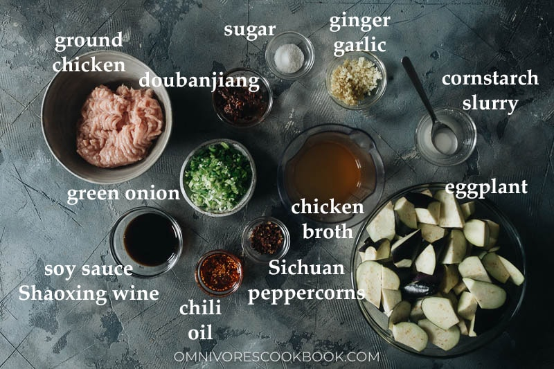 Ingredients for making mapo eggplant