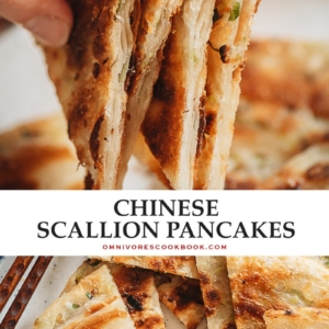 Super crispy and flaky on the outside and slightly chewy inside, my dim sum favorite, scallion pancakes, make a wonderful snack that you'll love! {Vegan}