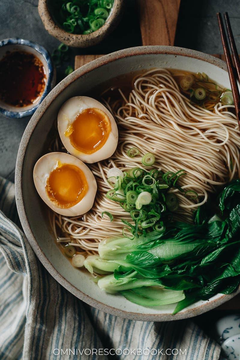 Soy sauce noodles close up