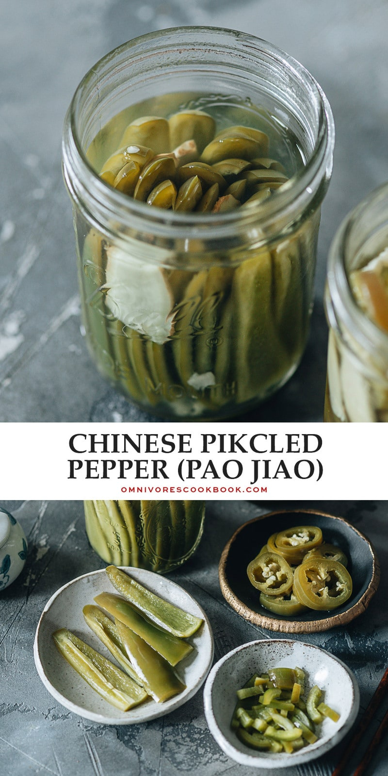 This quick and easy version of Chinese pickled peppers, also known as pao jiao, gives you a mildly salty and sour flavor to top off your favorite recipes. {Vegan, Gluten-Free adaptable}