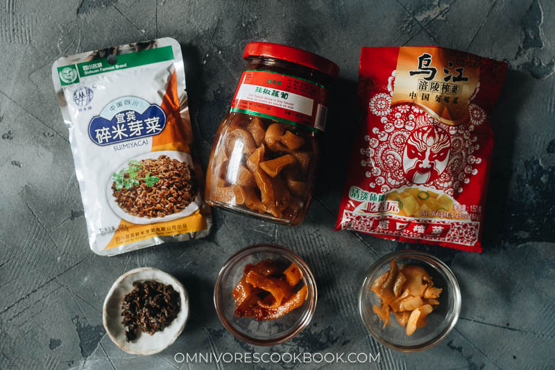 Three types of Chinese pickles