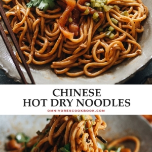 Try this savory hot dry noodle dish with a rich sauce and pickles on top for an authentic Chinese street food meal! {Vegan-Adaptable}