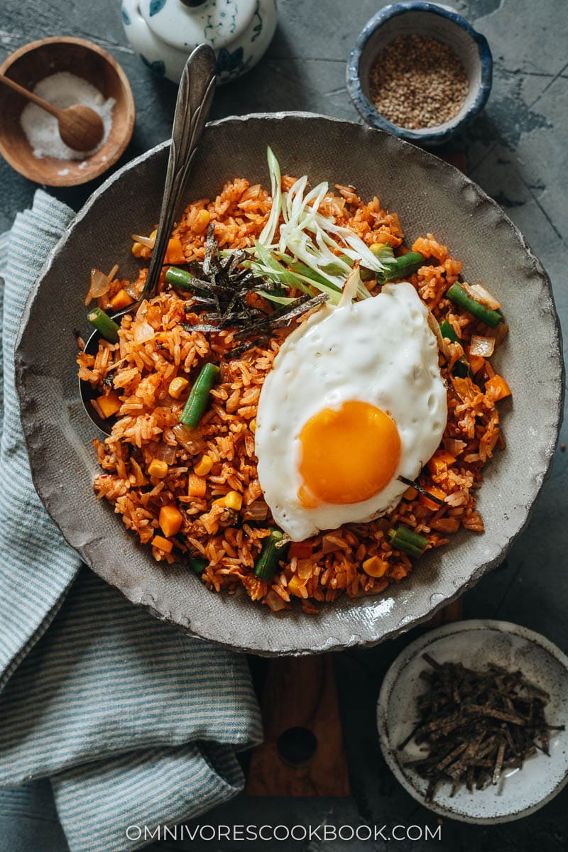 Kimchi Bokkeumbap with egg topping
