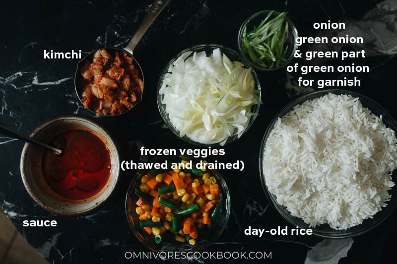 Ingredients for making kimchi fried rice