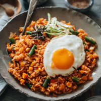 Kimchi fried rice is a super simple, fast, and delicious meal made with leftovers and the bold flavor of kimchi in one pan! {Vegan-Adaptable, Gluten-Free}