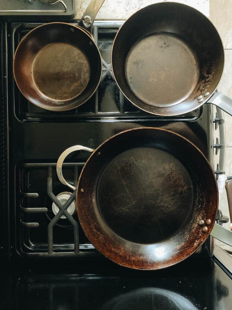 My three De Buyer frying pans