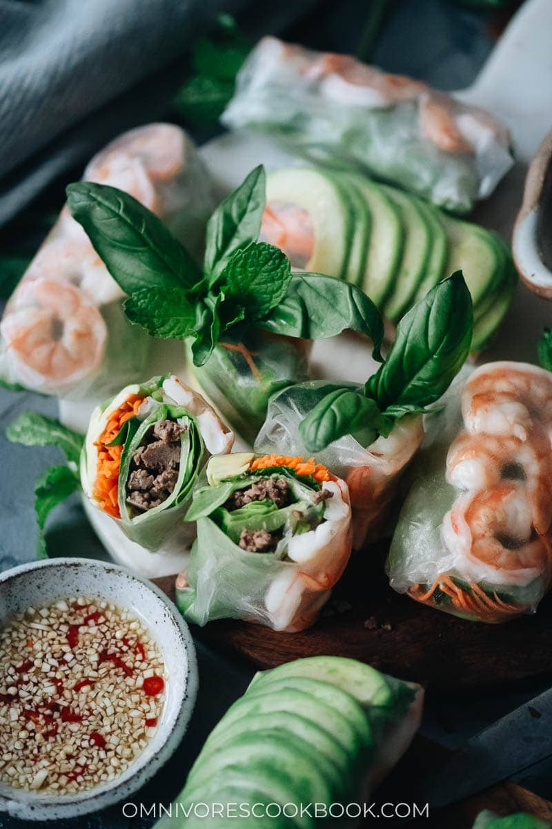 Chinese Mid-Autumn Festival Menu - Fresh Spring Rolls with Shrimp