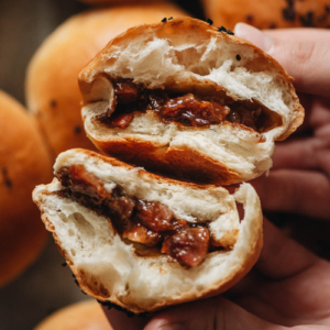 Baked BBQ pork buns with milk bread texture