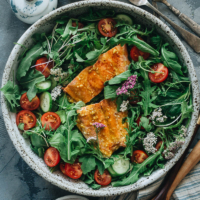 Eating healthy has never been more delicious than with this one-bowl salmon salad that delivers on bold, tangy flavor that makes you feel good all over. {Gluten-Free}