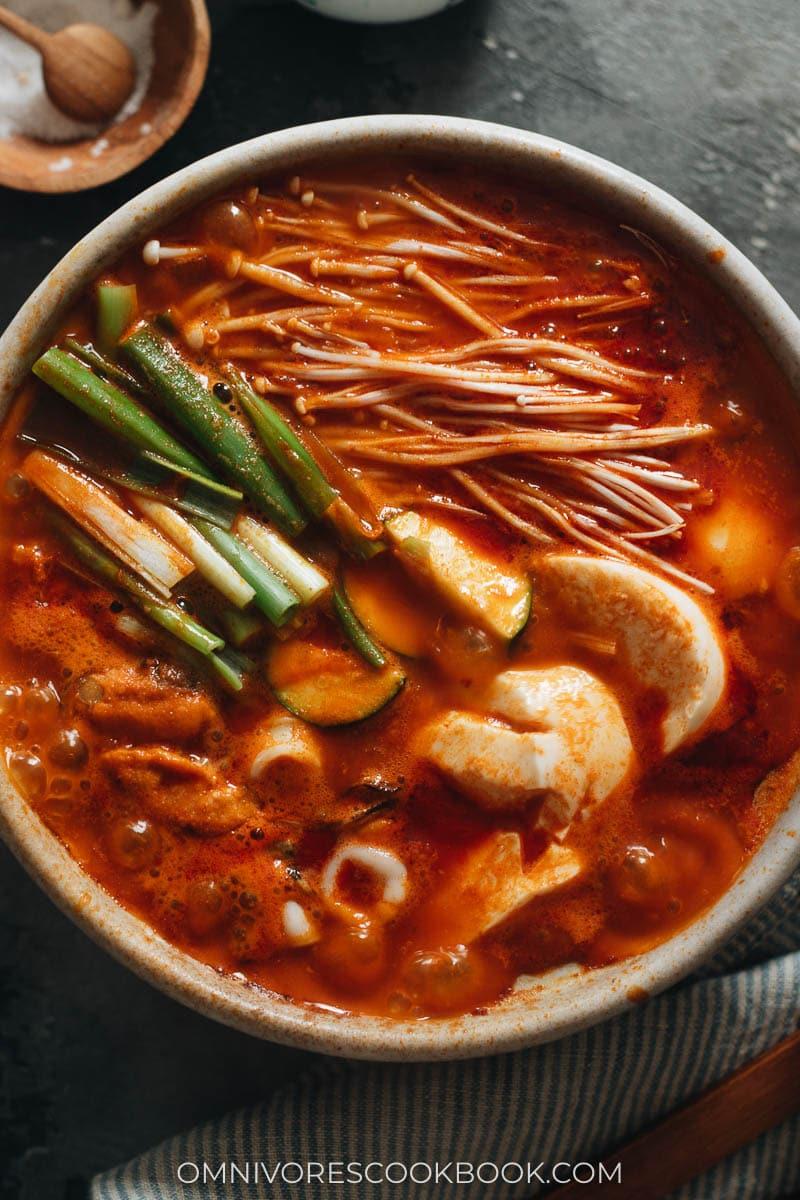 Korean soft tofu stew bubbling hot