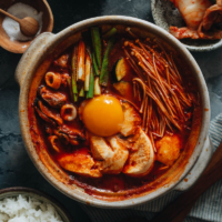 Korean soft tofu stew with seafood
