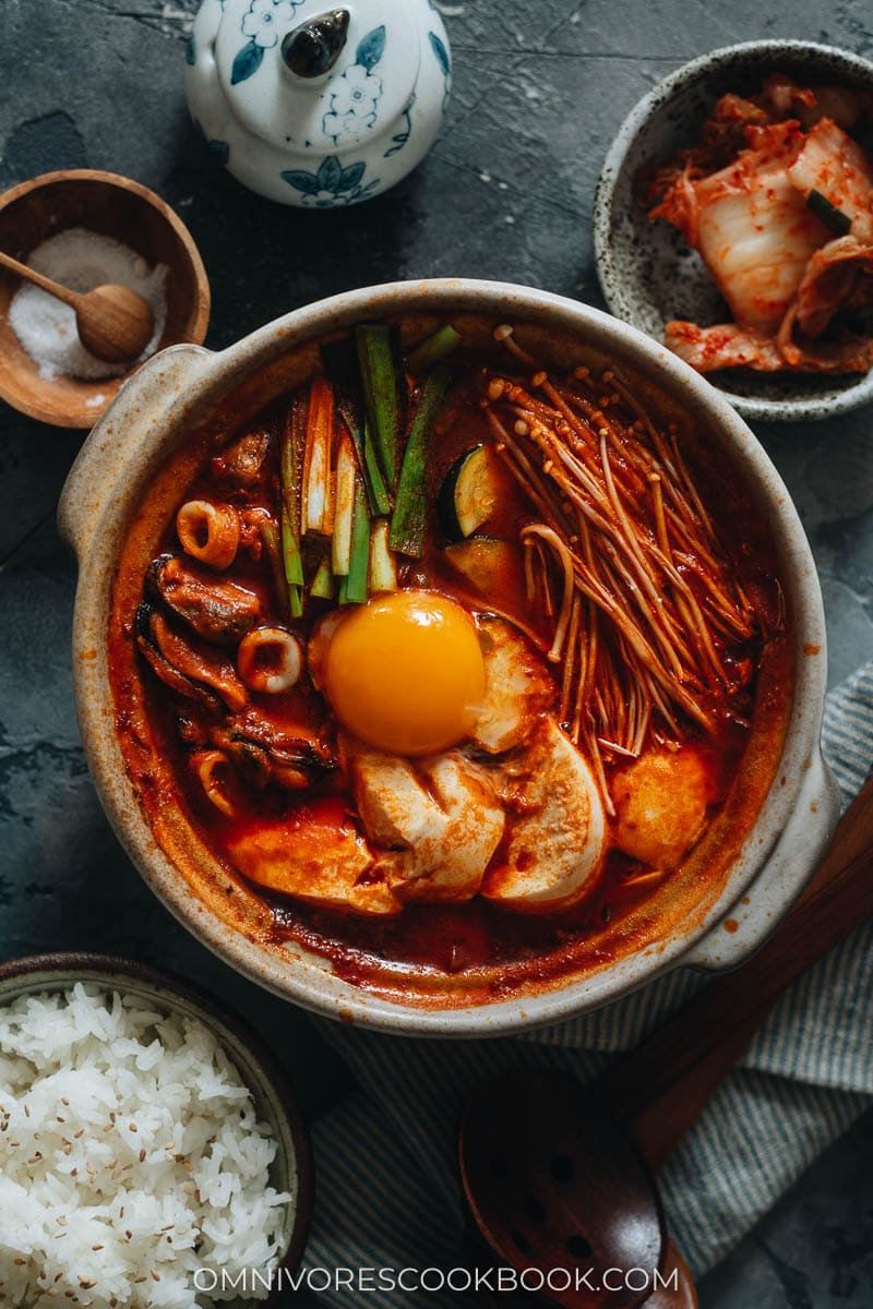 Korean soft tofu stew with seafood