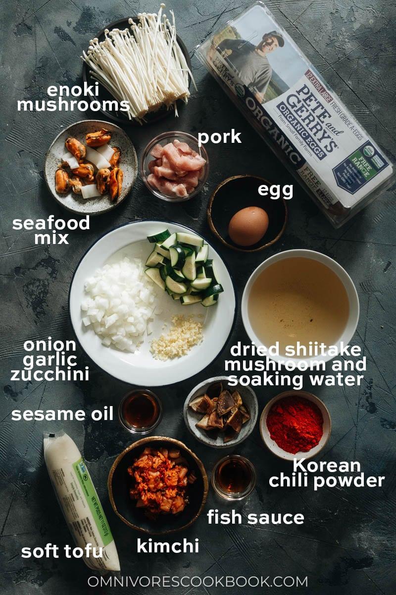 Ingredients for making Korean soft tofu stew