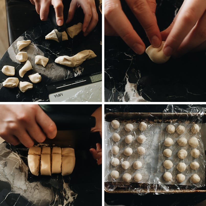 How to assemble mooncake dough