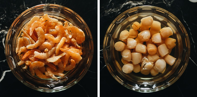 Rehydrating dried scallops and dried shrimps