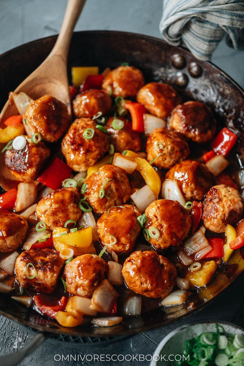 Chinese meatballs with sauce in a pan