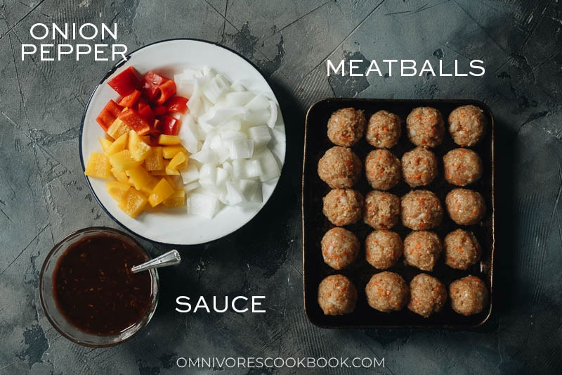 Ingredients for making sweet and sour sauce meatballs