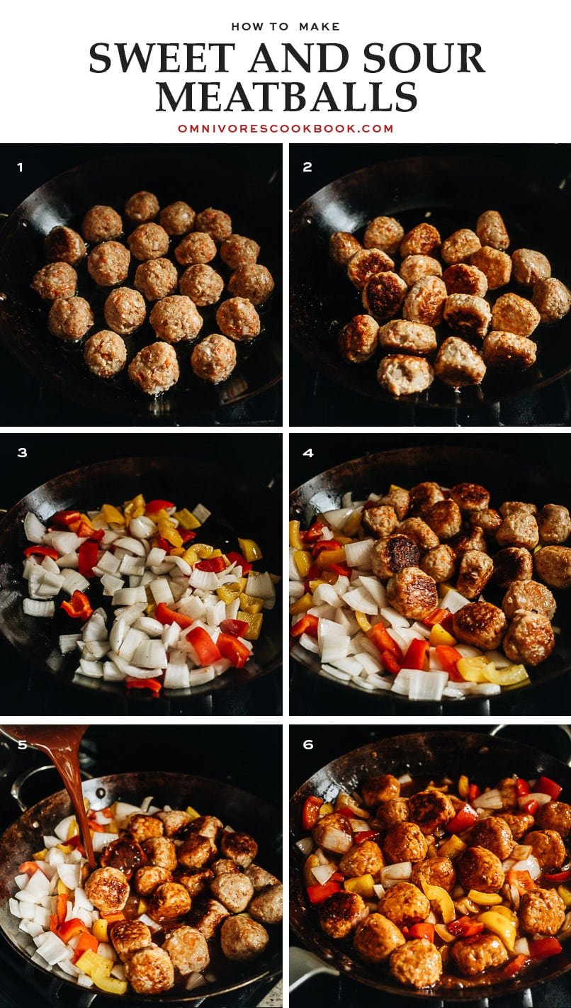 Sweet and sour sauce meatballs cooking step-by-step