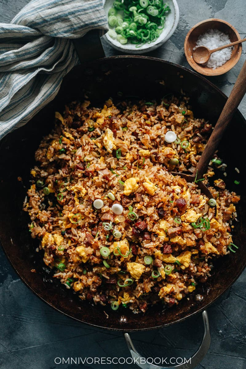 XO fried rice in a pan