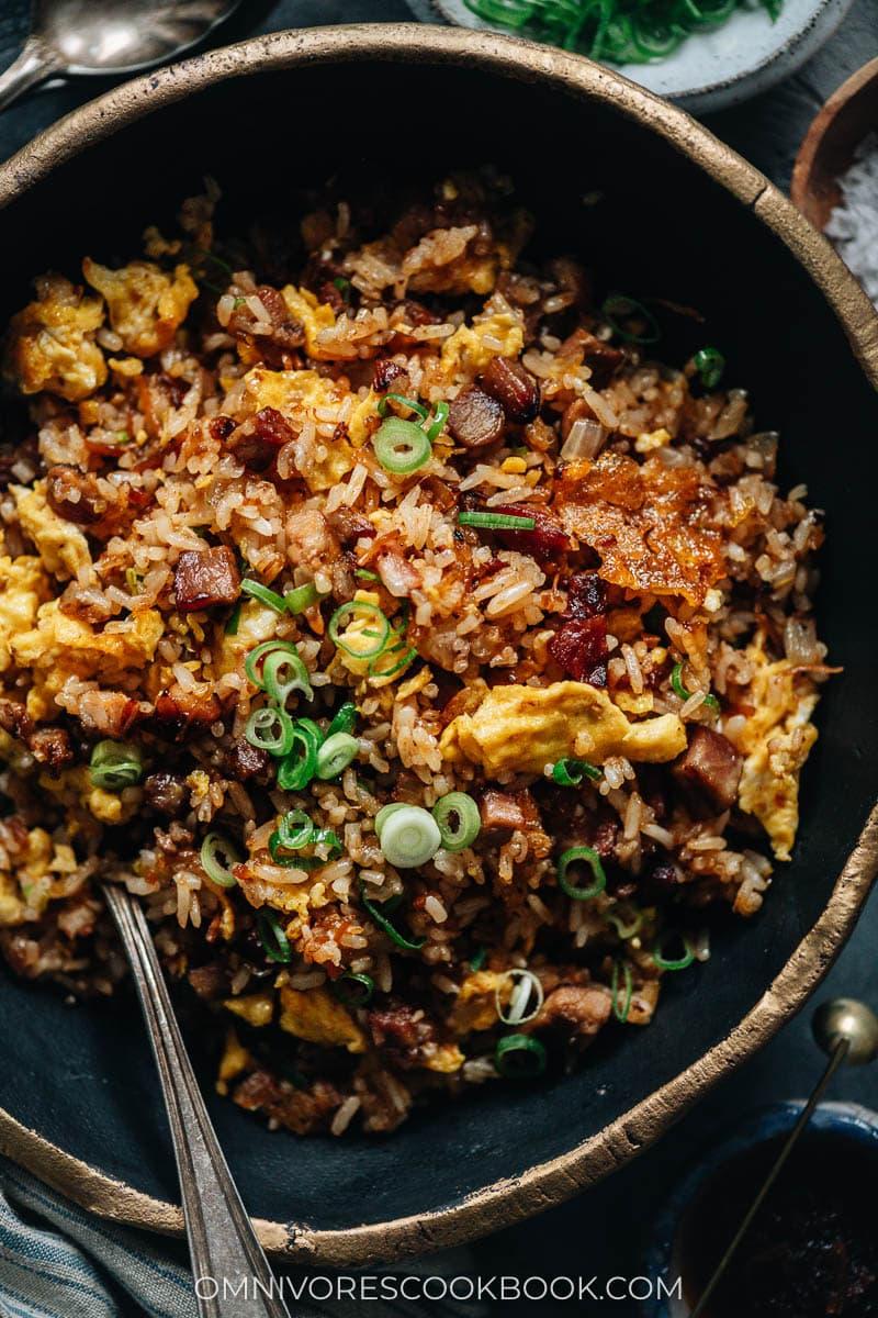 XO sauce fried rice with char siu pork and eggs