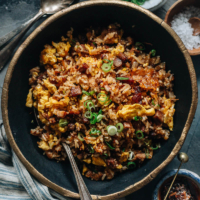 Dig into a bowl of XO fried rice with a crispy, crunchy texture and savory sweet, lightly seafoody taste that transforms your leftover char siu pork into a meal in minutes!