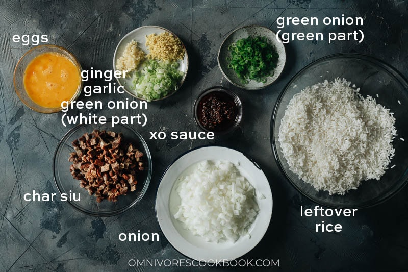 Ingredients for making XO fried rice