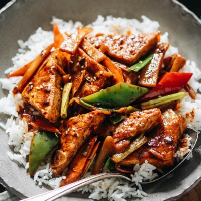 Homestyle tofu over rice