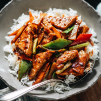 If you aren't a tofu lover already, you will be after you try this home style tofu. It has a tender texture and crispy crust along with a savory, lightly spicy sauce and crunchy veggies. {Vegan}