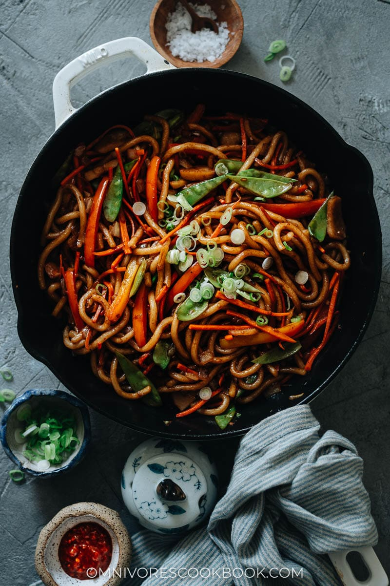 Vegan udon stir fry in a pan
