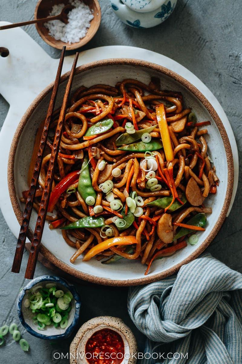 Homemade veggie yaki udon