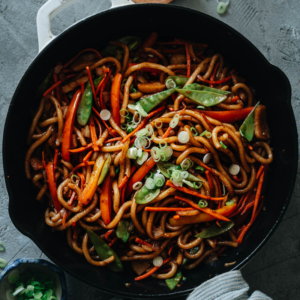 This super-simple, rich, and healthy vegetable udon comes together in just one pot in only 15 minutes - perfect for a busy night. {Vegan-adaptable}