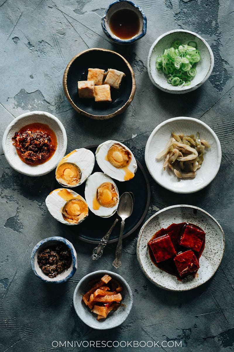 Topping options for Chinese plain congee