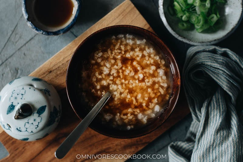 Congee mixed with brown sugar