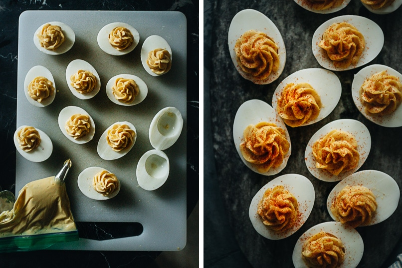 Process of making deviled eggs