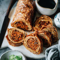 A classic Chinese Buddhist dish upgraded to the holiday version. This vegetarian duck is a perfect holiday loaf for both vegetarian and vegan feasts. {Vegan, Gluten-Free adaptable}