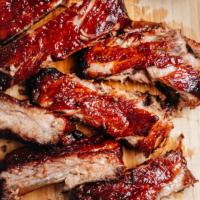 Chinese BBQ ribs close-up