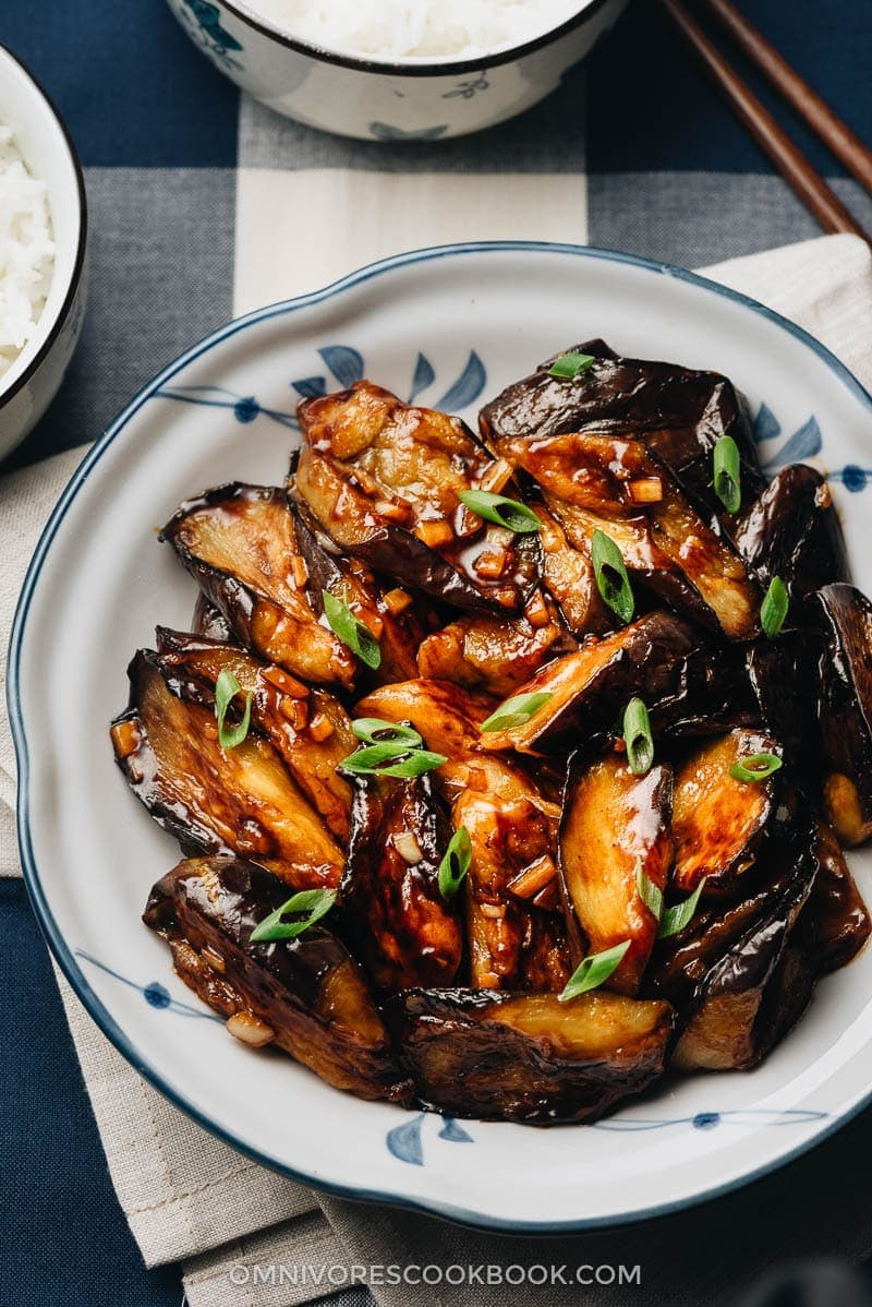 23 Vegan Chinese Recipes for Your Next Holiday Dinner Party - Chinese Eggplant with Garlic Sauce (红烧茄子)