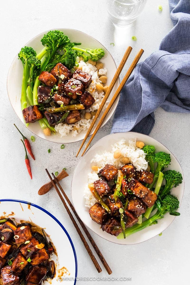 23 Vegan Chinese Recipes for Your Next Holiday Dinner Party - General Tso Tofu (Crispy Tofu without Deep Frying)