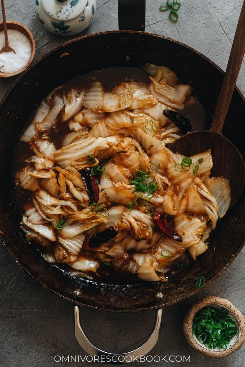 23 Vegan Chinese Recipes for Your Next Holiday Dinner Party - Napa Cabbage Stir Fry with Vinegar Sauce (醋溜白菜)