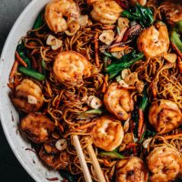 XO noodles with shrimp in a pan close-up