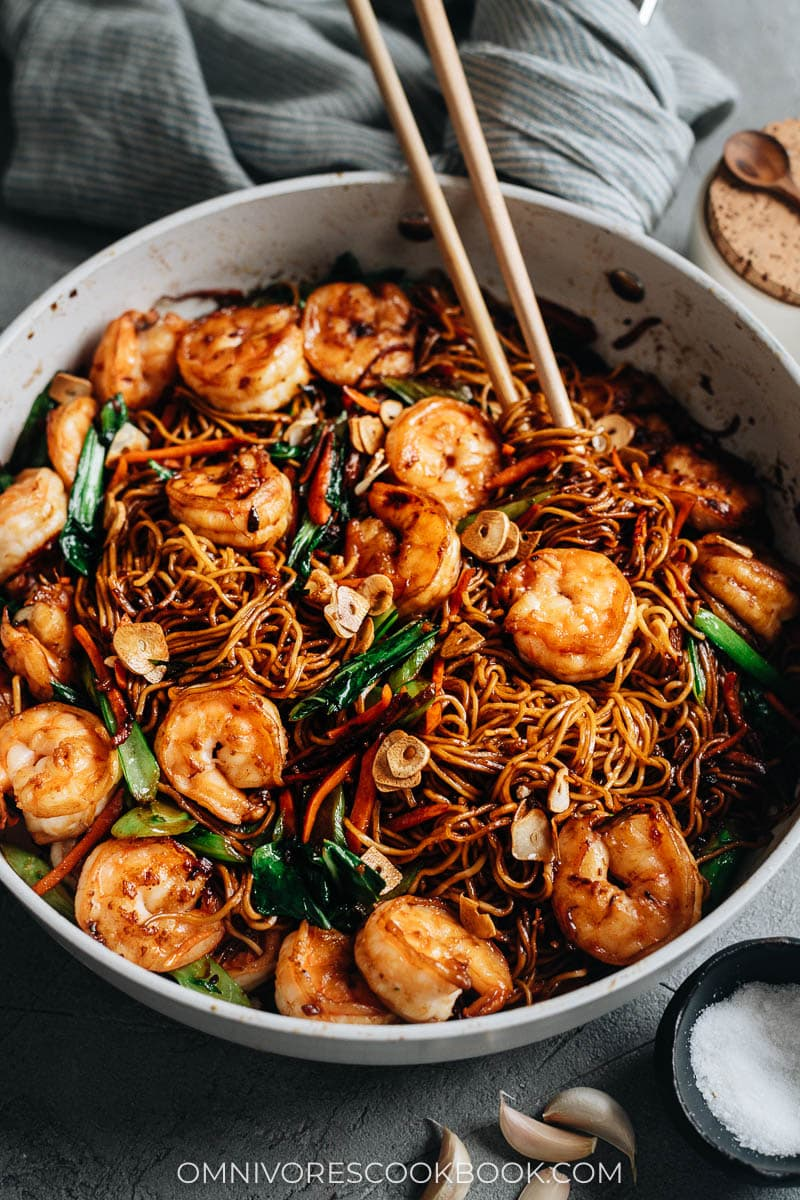 XO noodles with shrimp
